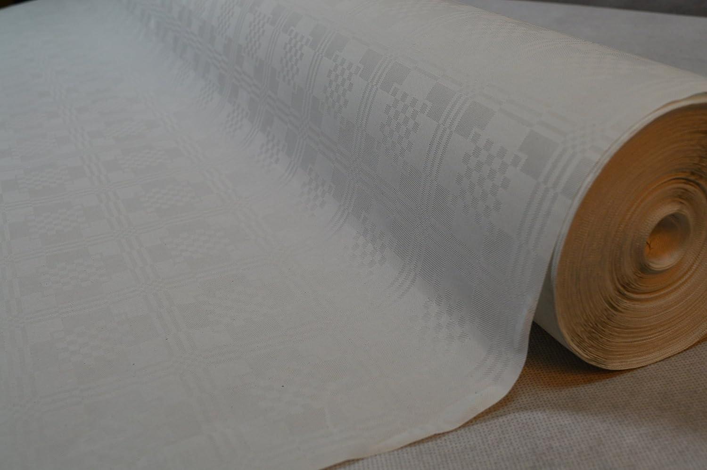 Tischdecke Papier-Tischdeckenrolle Damast in Weiss aus Papier 100 cm x 50 m