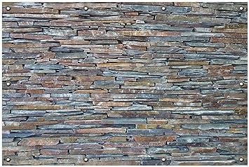 Outdoor Küche Steinmauer : Wallario garten poster outdoor poster natursteinmauer in grau