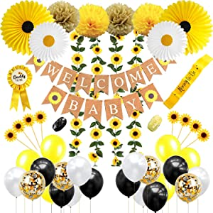 Sunflower Baby Shower Decorations for Girl, Gender Neutral or Boy, Sunflower theme Baby Shower Decorations, Sunflower Welcome Baby Banner, Fowers Vine, Cupcake Toppers, Tissue Paper Fans, Pom Poms, Sash , Daddy To Be Pin and Much More by JSN Party