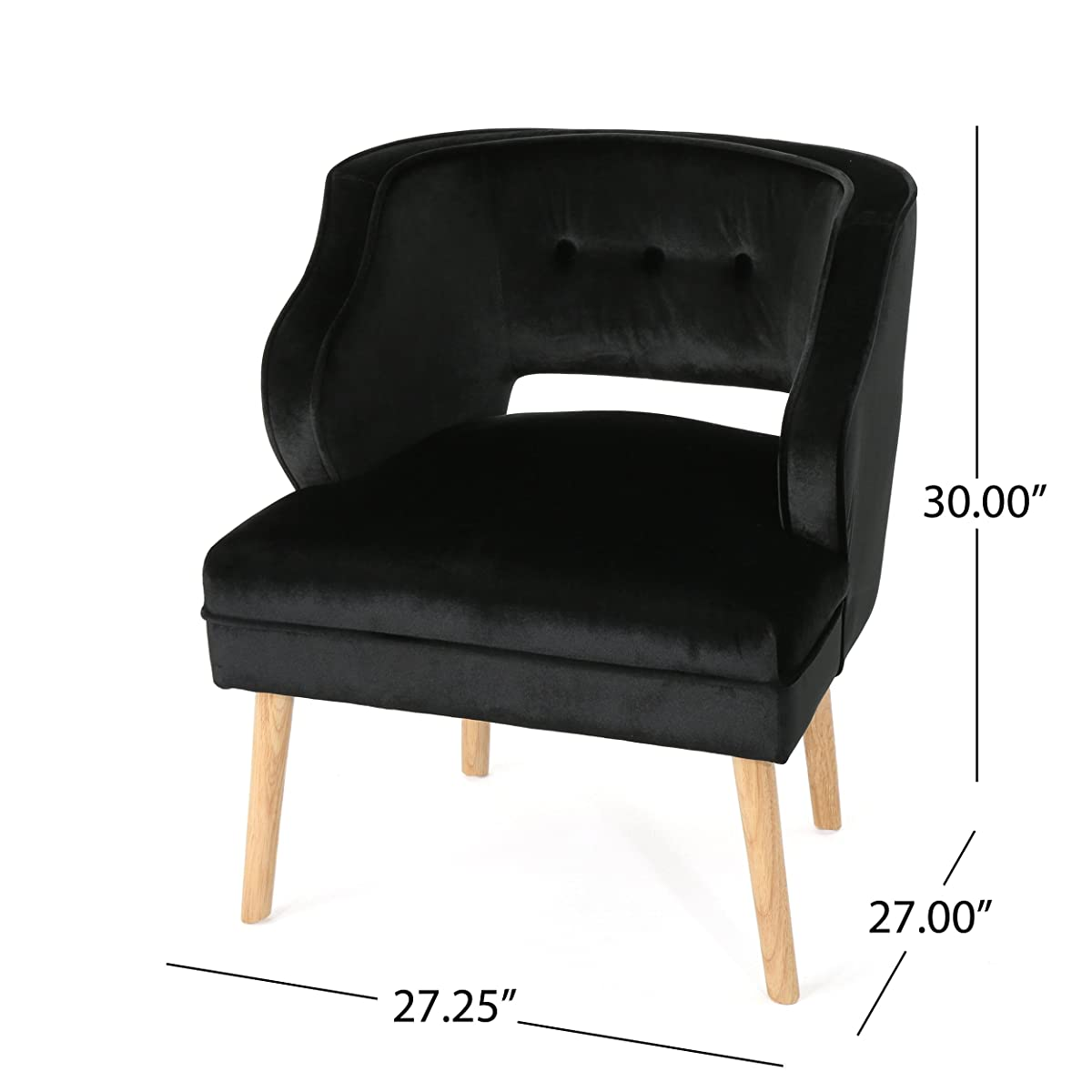 Michaela Mid Century Black Velvet Accent Chair