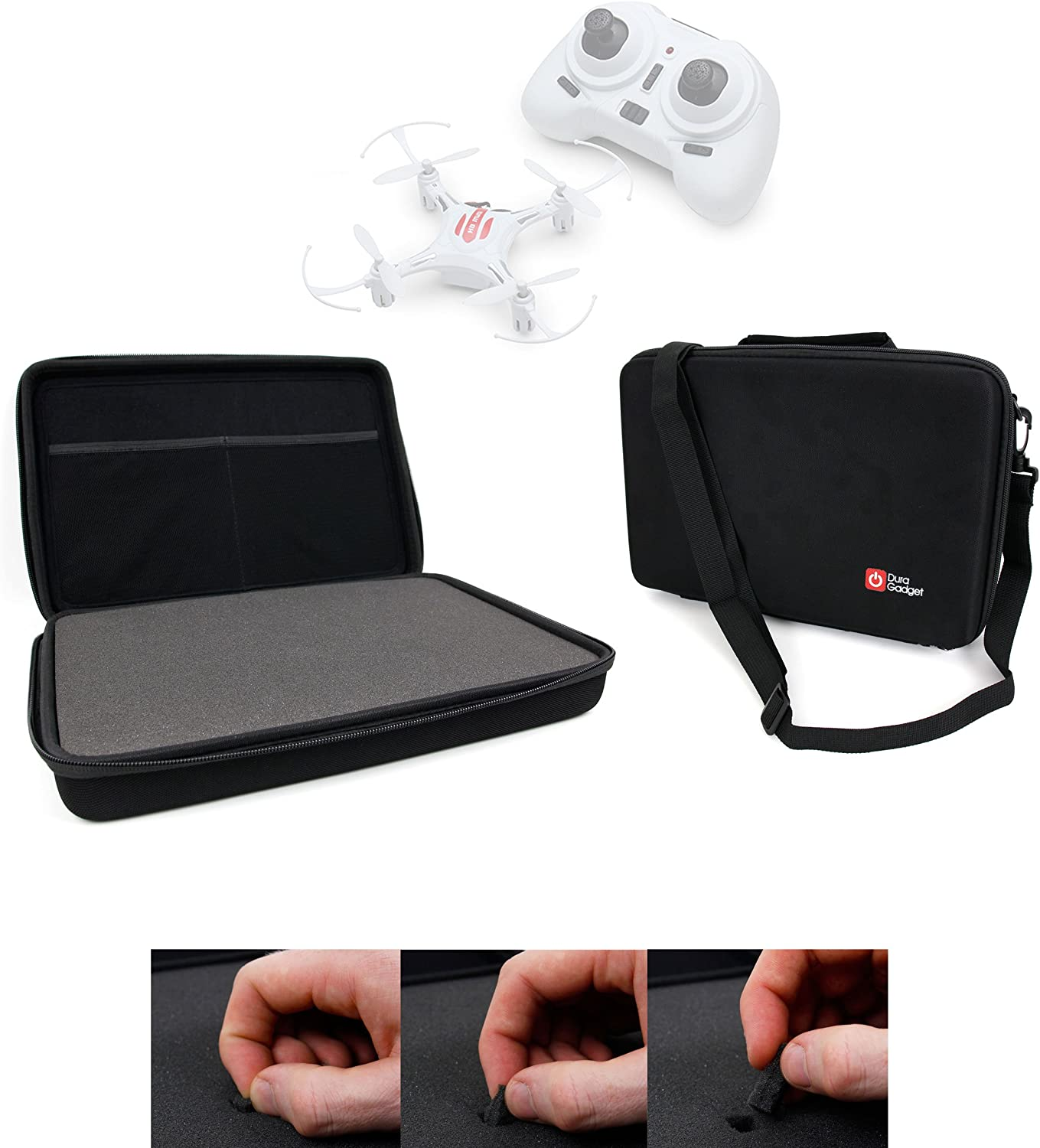 E10C Mini Quadcopter Drone DURAGADGET Black Armoured EVA Shell Storage Case with Fully-Customizable /& Shock-Absorbing D.I.Y Foam Interior Compatible with The Eachine H8