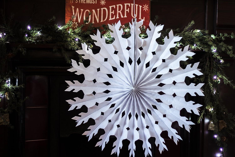 Papierf/ächer Rosette Schneeflocken Taufen Dekoration zum Aufh/ängen Hochzeits-Deko Weihnachts-Deko Wei/ß Multipack 12 St/ück