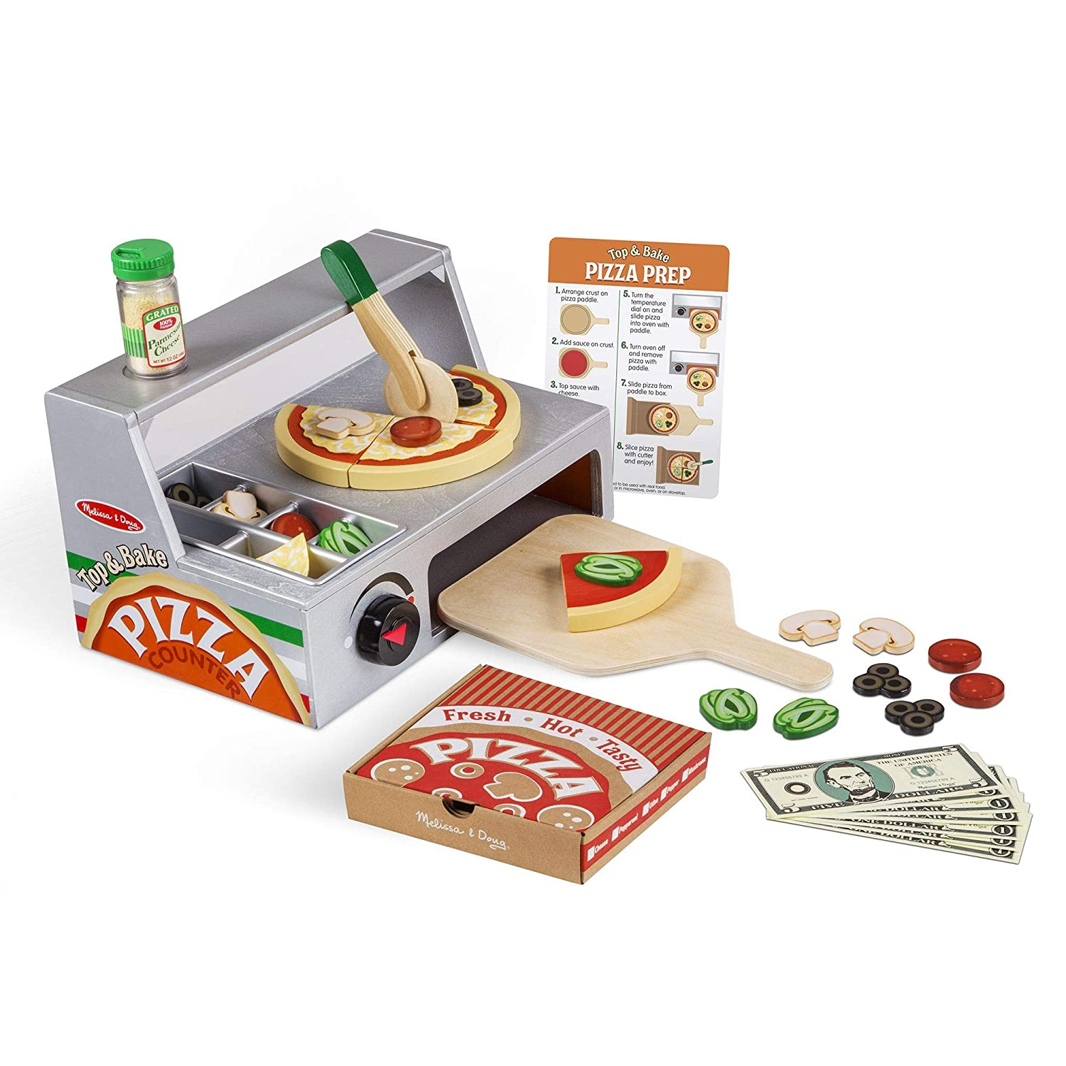 "Melissa & Doug Top and Bake Wooden Pizza Counter Play Food Set, Pretend Play, Helps Support Cognitive Development, 34 Pieces, 7.75"" H x 9.25"" W x 13.25"" L"