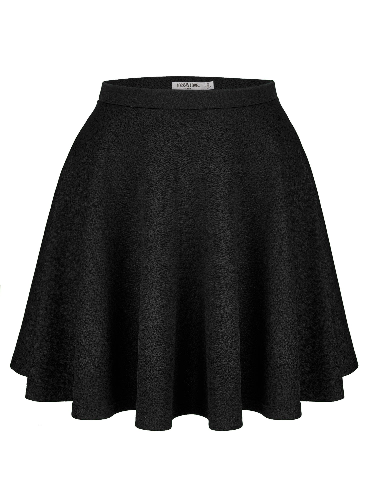 Lock and Love WB1580 Womens Verstaile Stretchy Flared Casual Skater Skirt - Made in USA S Black
