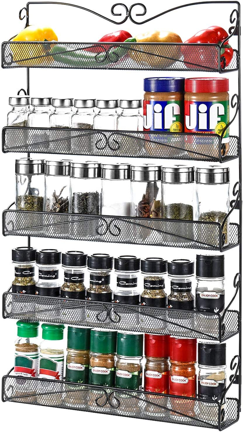 Amazon Com 3s Wall Mounted Spice Rack Organizer For Cabinet Pantry Door Kitchen Large Hanging Spice Shelf 5 Tier Black Kitchen Dining
