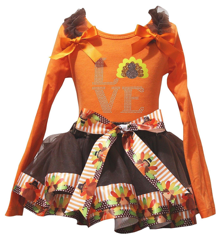 Petitebella Love Turkey Orange L/S Shirt Brown Turkey Petal Skirt Nb-8y