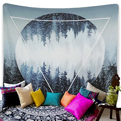 Amazoncom Tapestry Sunset Forest Wall Tapestry Trees Wall Hanging