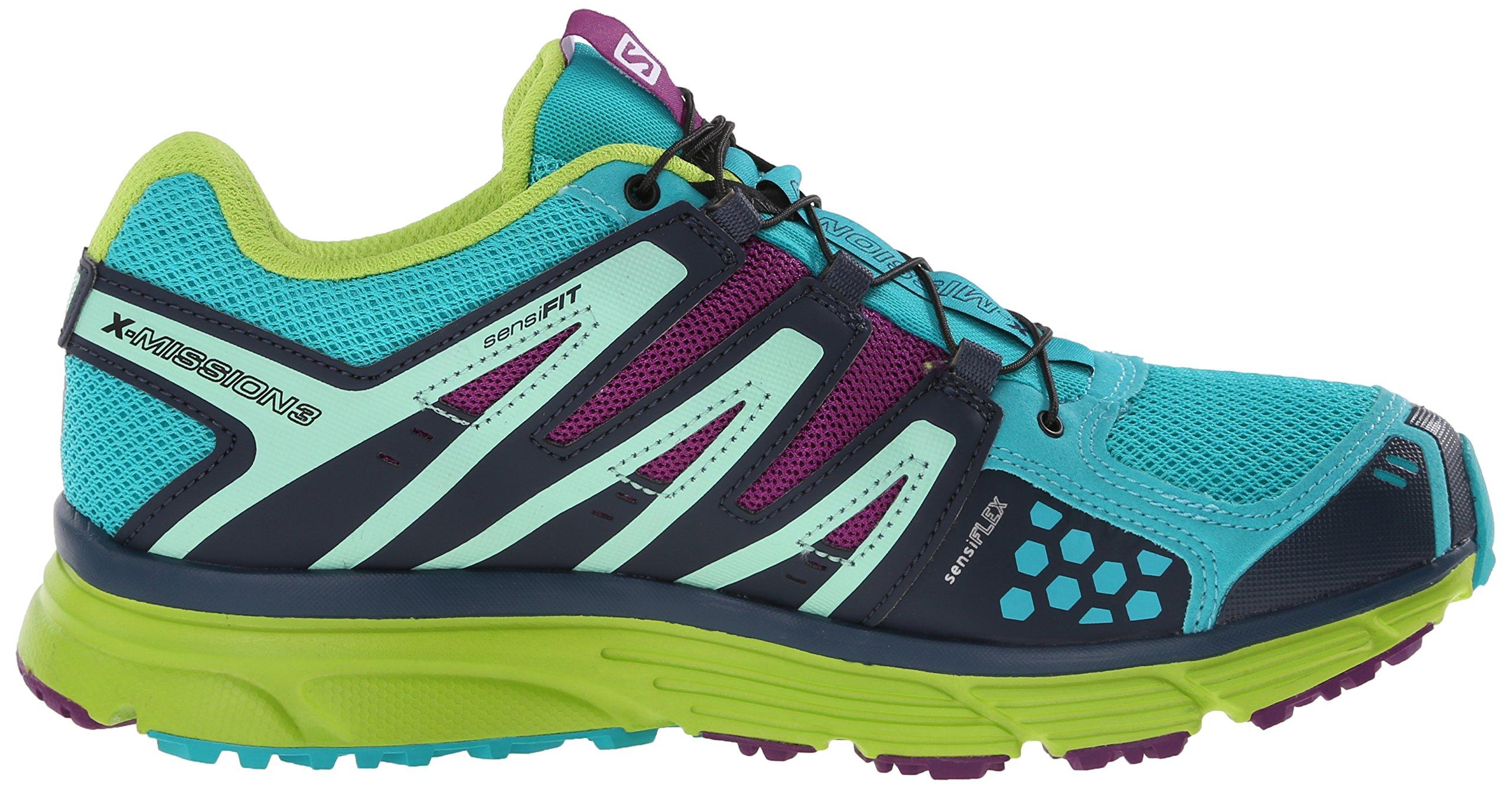 Salomon Women's X-Mission 3 W Trail Running Shoe, Teal Blue/Granny Green/Passion Purple, 7.5 B US by Salomon (Image #7)
