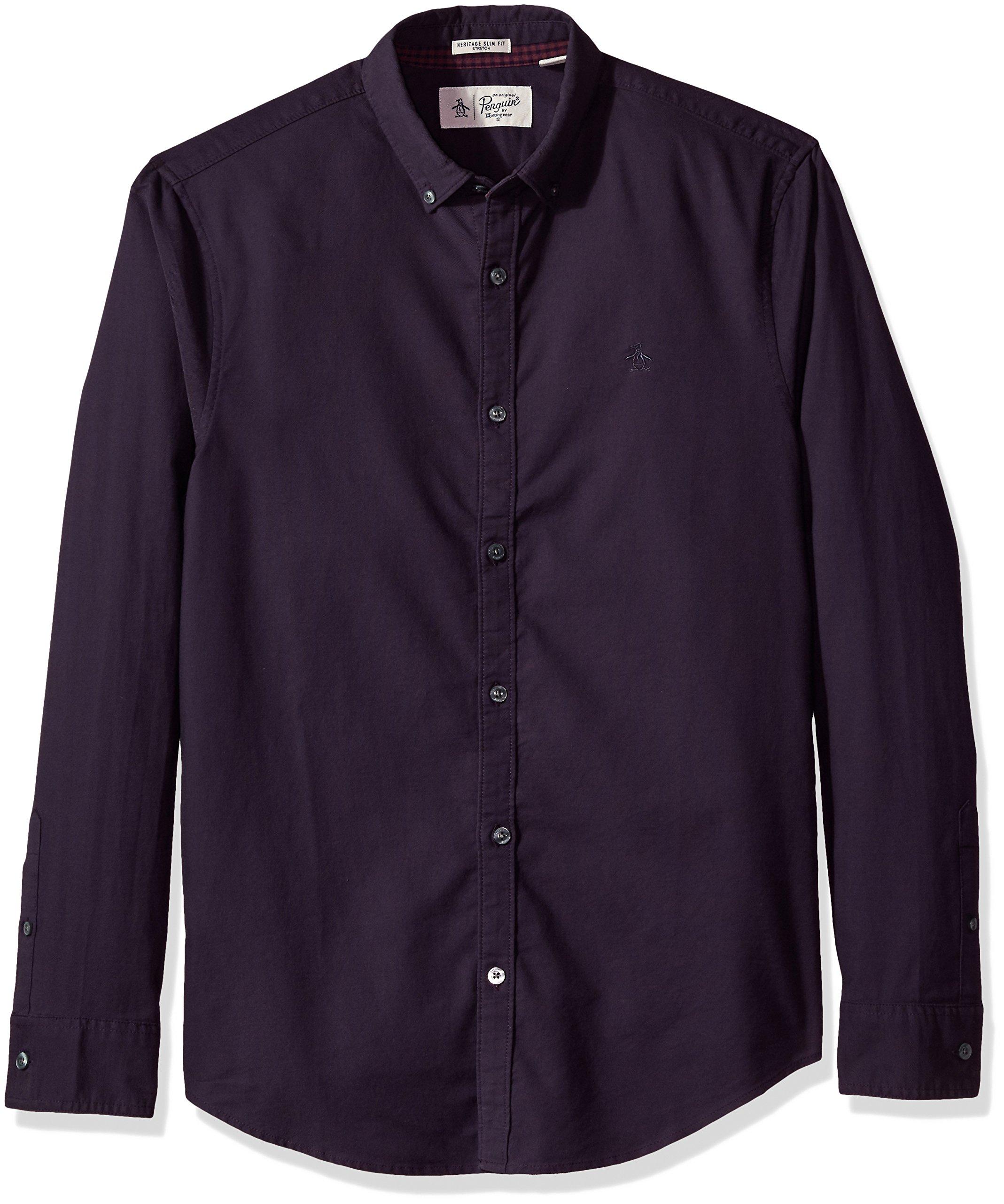 Original Penguin Men's Thinly Striped Oxford Dress Shirt, Nightshade, Large