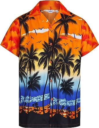 Redstar Fancy Dress - Camisa Hawaiana de Manga Corta - para Hombre - Palmeras - Todas Las Tallas - Naranja - L: Amazon.es: Ropa y accesorios