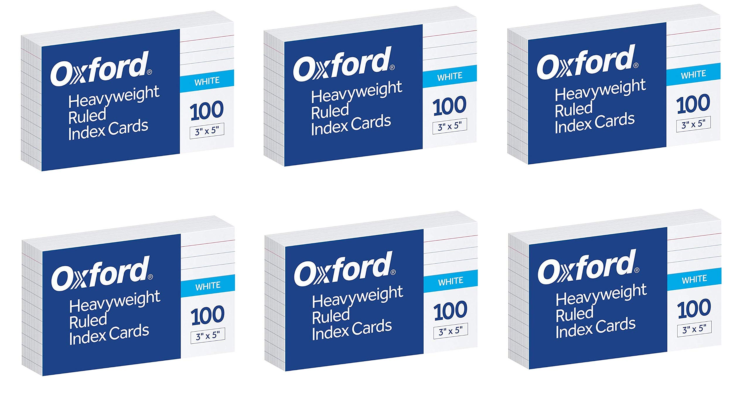 Oxford Heavyweight Ruled Index Cards, 3'' x 5'', White, 100 Per Pack, Sold as 6 Pack, 600 Cards Total (63500) by Oxford