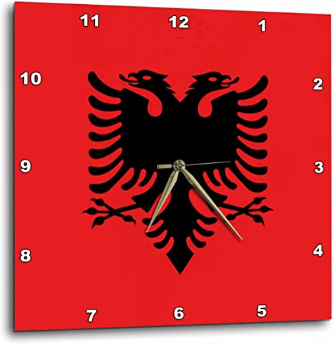 3dRose Flag of Albania – Albanian Black Double Headed Eagle on Red – Balkans Eastern Europe European World – Wall Clock, 13 by 13-Inch DPP_159836_2