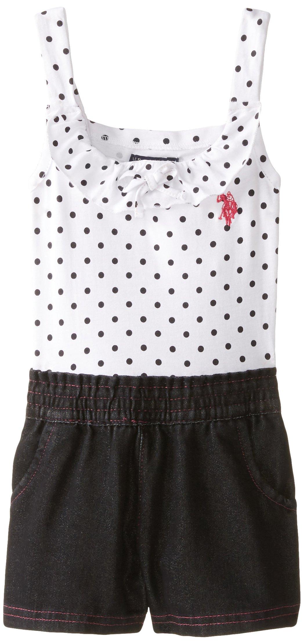 U.S. Polo Assn. Little Girls' Polka Dot Print Jersey Top and Denim Short Romper, Black, 4