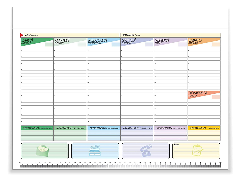Kukk Planning Settimanale Da Tavolo – Planner Scrivania 43 x 31 cm, 52 Fogli a Strappo non Collati, Senza Data, Perpetuo