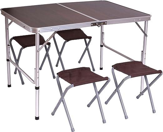 Tavolini Da Campeggio Pieghevoli Con Sedie.Tavolino Da Campeggio Pieghevole Con 4x Sedie T368 Alluminio Mdf