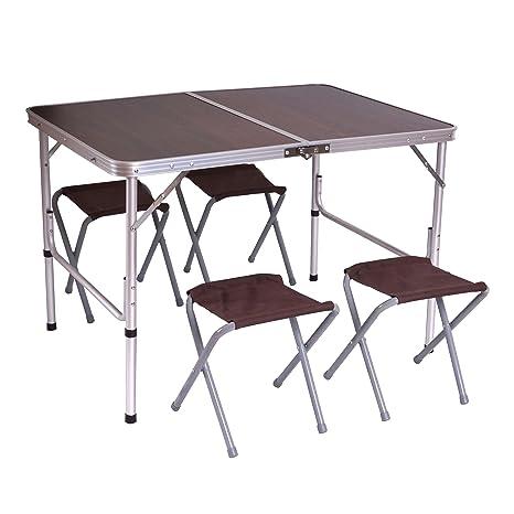 Tavoli Alluminio Pieghevoli Usati.Tavolino Da Campeggio Pieghevole Con 4x Sedie T368 Alluminio Mdf