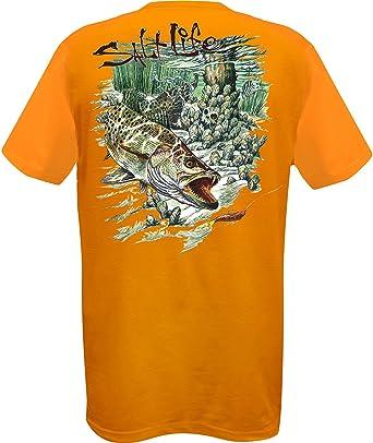 0562b2e9068b5 Salt Life Mens Big Ol' Trout T-Shirt-Small Tangerine | Amazon.com