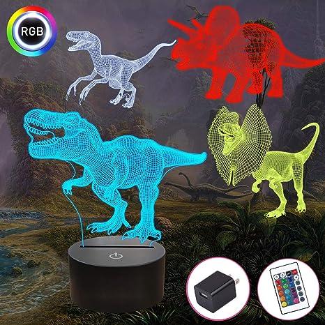 Letop Luz de noche de dinosaurio 3D con mando a distancia regalos de cumplea/ños para ni/ños 16 colores cambiantes