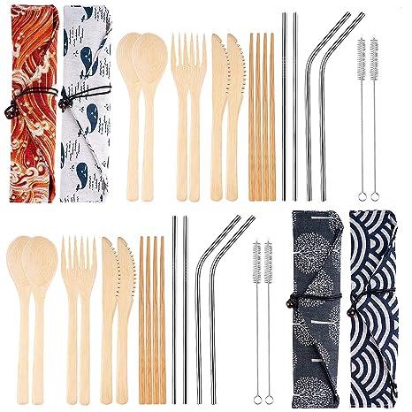 Amazon.com: Juego de 4 utensilios de bambú reutilizables de ...