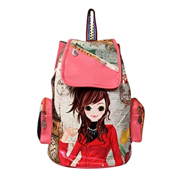 5ec74ef12267 Buy INF Printed Casual Fashion School Leather Backpack Shoulder Bag Mini  Backpack Girls   Women s Bag Online at Low Prices in India - Amazon.in