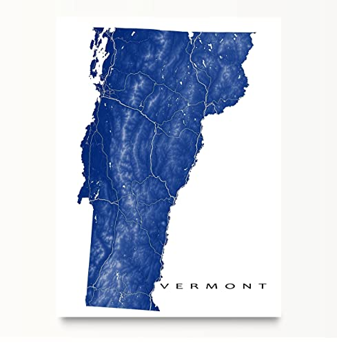 Amazoncom Vermont Map Art Print VT State Outline USA Wall