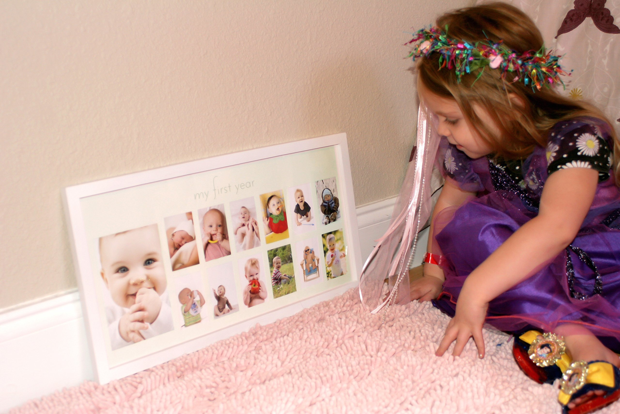 Babys First Year Frame In Elegant White Natural Wood My First