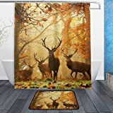 "Fantastic Deers Buck in Autumn Forest Waterproof Polyester Fabric Shower Curtain (60"" x 72"") Set with 12 Hooks and Bath Mats Rugs (23.6"" x 15.7"") for Bathroom - Set of 2"