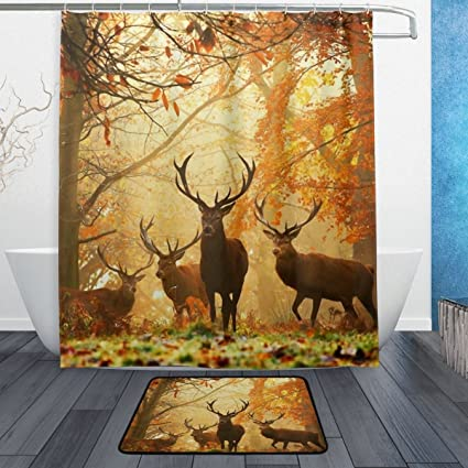 Fantastic Deers Buck In Autumn Forest Waterproof Polyester Fabric Shower Curtain 60quot X 72quot