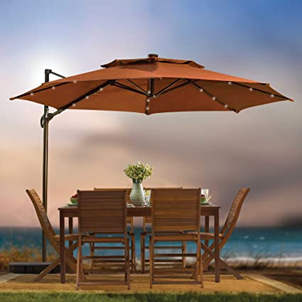 outdoor patio cantilever umbrella 11 foot round canopy with solar powered lights includes base and storage