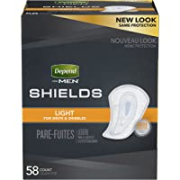 Depend Shields for Men, Light Absorbency Incontinence Protection, 58 Count (Pack of 3)