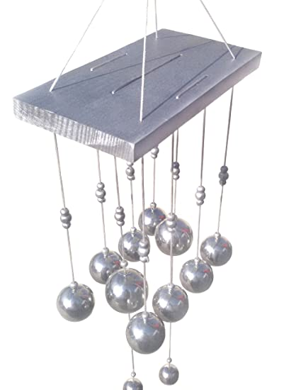Discount4product Wind Chime Wood Bell Hanging (15 cm x 8 cm x 35 cm, Silver)