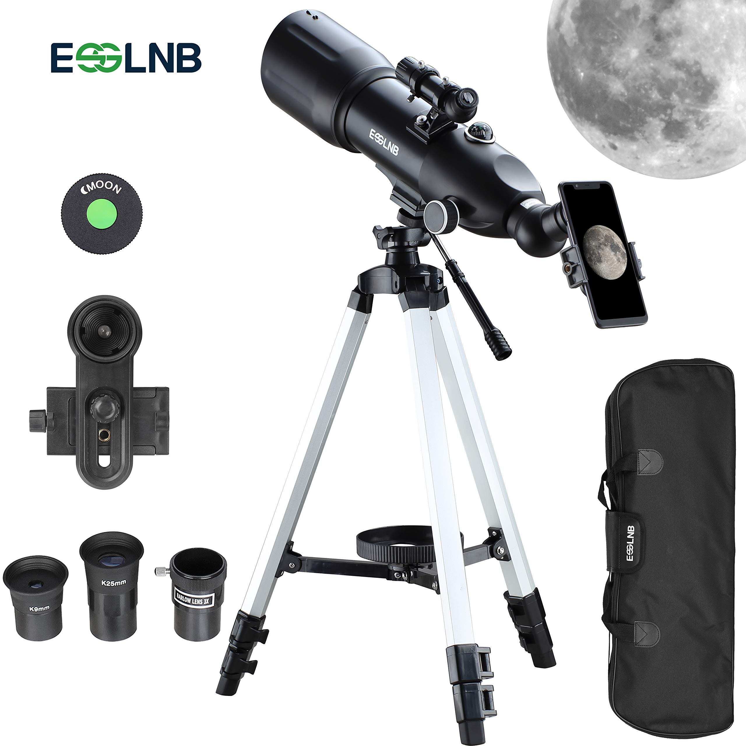ESSLNB Telescopes for Adults Astronomy Beginners Kids 400X80mm with 10X Smartphone Adapter Adjustable Tripod Case and Moon Filter Erect-Image Diagonal Prism by ESSLNB