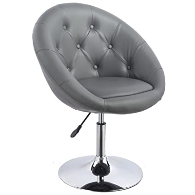 Duhome Luxury Grey Vanity Chair PU Leather Contemporary Round Swivel Accent Chair Tufted Adjustable Lounge Pub Bar