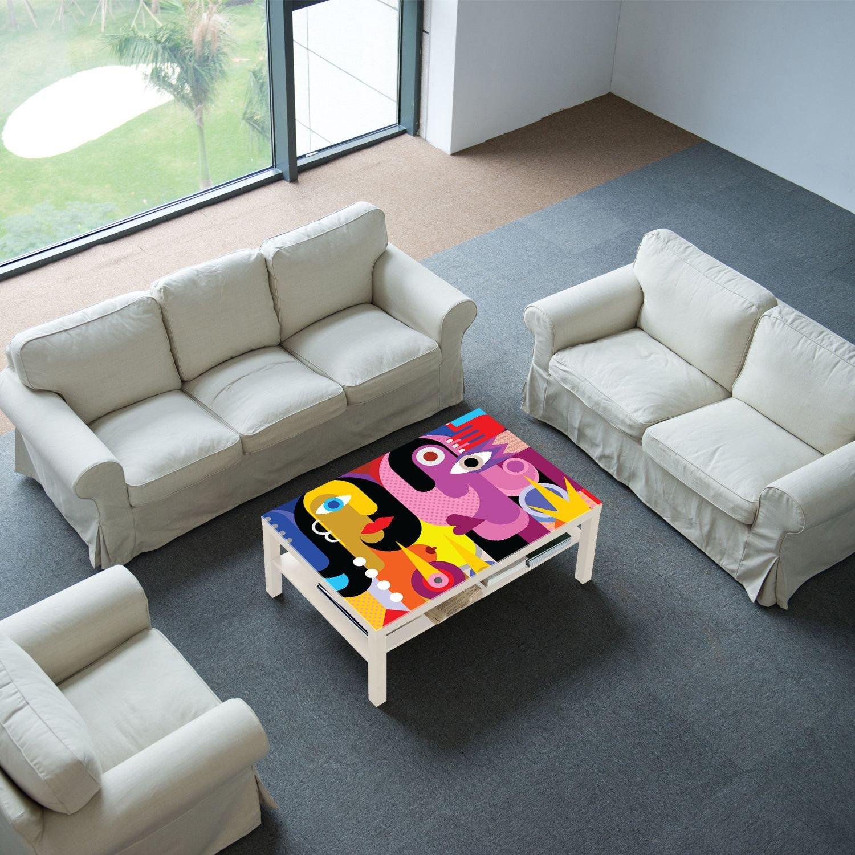 Motivo Mann und Fraue con Piano in Vetro Tutte Le Misure Disponibili Tavolino da Salotto DekoGlas Ikea Lack