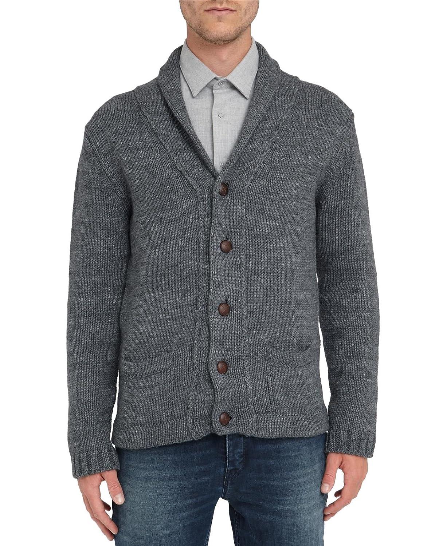 M.STUDIO - Cardigans - Men - INACTIVE Charcoal Antonin Shawl Collar Wool Blend Cardigan for men