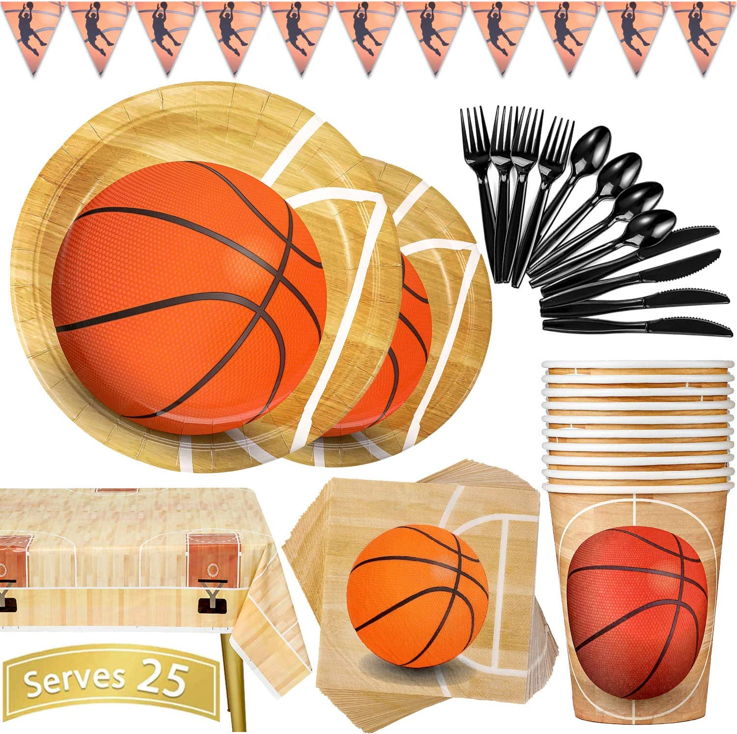 Plates 177 Piece Basketball Party Supplies Set Including Banner Cups, Plates