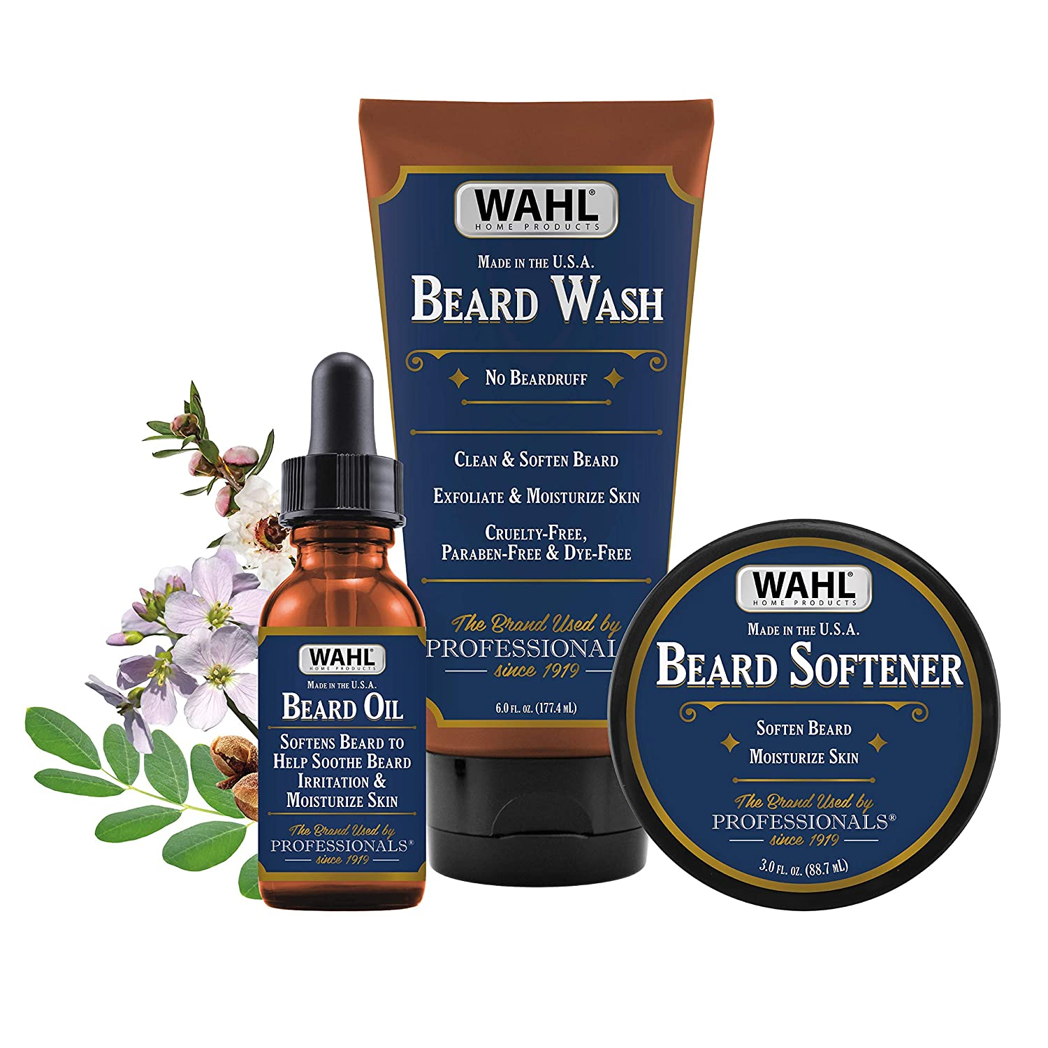 Wahl Beard Oil, Wash & Softener Combo Kit with Essential Oils for Men – Moisturizes, Exfoliates & Soothes Skin Irritation with Manuka Oil, Meadowfoam Seed Oil, Clove Oil & Moringa Oil