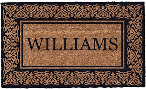 Coco Mats N More Black Blooming Hearts Bordered Personalized Coco Doormat 38 x 60 with Vinyl Backing