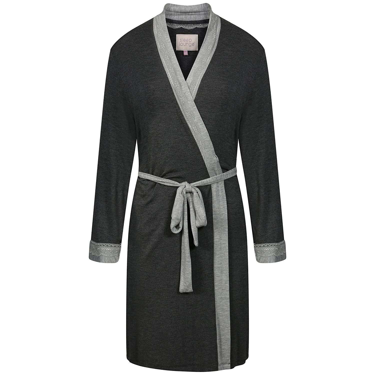 Ladies Short BHS Soft Jersey Wrapover Dressing Gown. Dark Grey ...