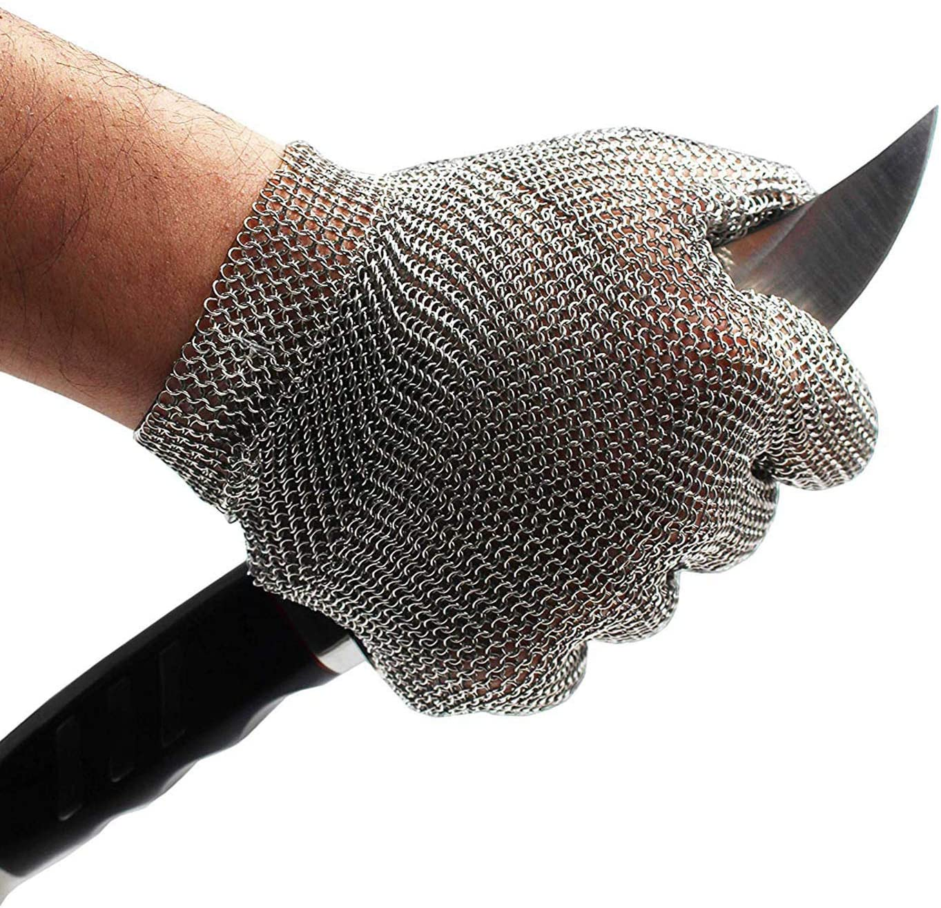 Schwer Stainless Steel Metal Mesh Chainmail Cut Resistant Glove for Food Handling, Meat Cutting Butchers Slicing Chopping Restaurant Work Safety(XL)