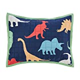 Amazon Basics Kids Dinosaur Squad 100% Cotton Reversible Quilt Sham - Standard, Dinosaur Squad/ Leafy Green