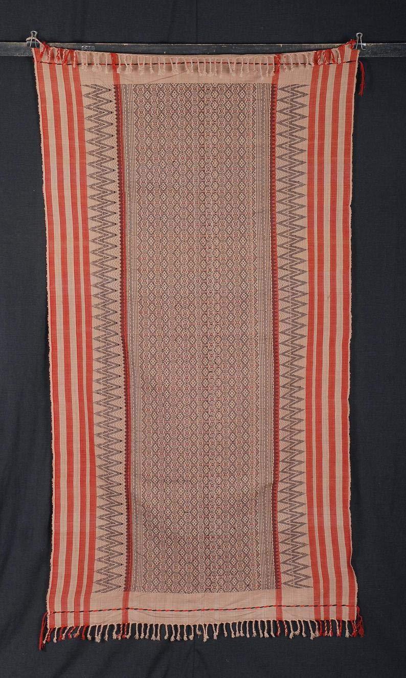 Tribal Naga blanket orange beige red black tapestry ethnic handwoven cotton throw stripe Hmong fabric boho India textile home decor 15 CV41