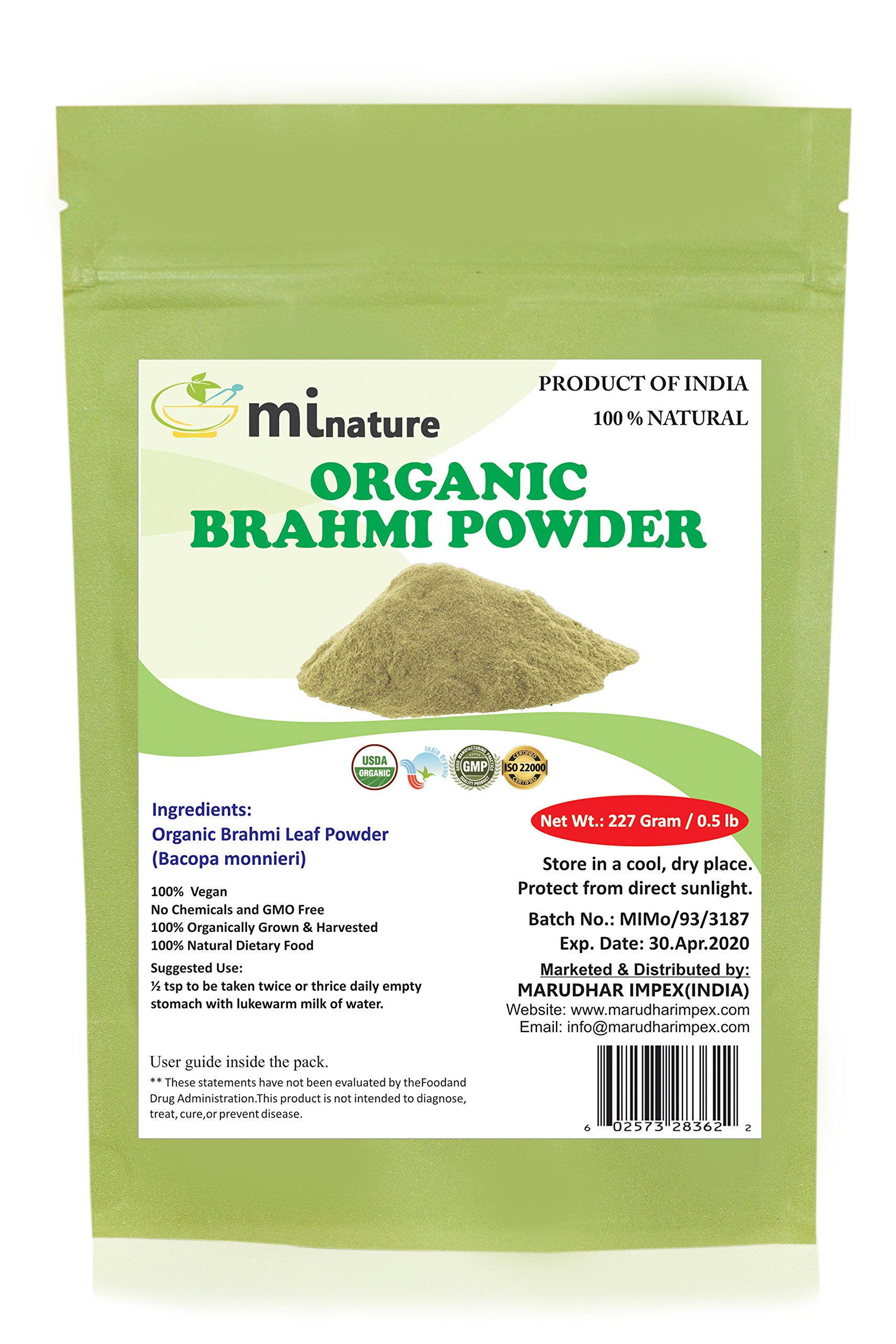 mi nature Organic Brahmi Leaves Powder (Bacopa Monnieri) - 227 g / 8 OZ / 1/2 lb | 100% Natural & Pure Hair Conditioner | Vegan