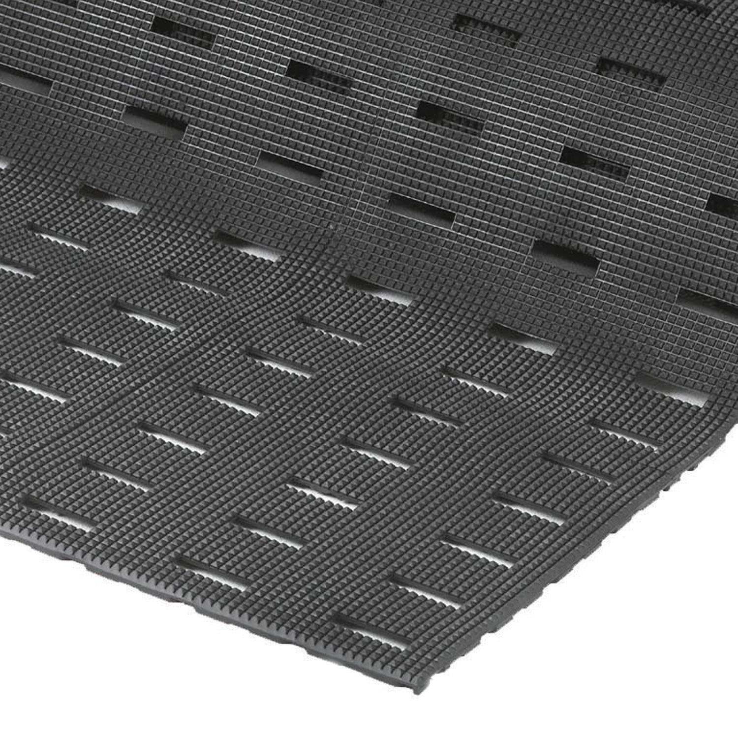 NoTrax Vinyl 420 Cushion-Dek Anti-Fatigue Drainage Mat, for Wet Areas, 3' Width x 10' Length x 7/16'' Thickness, Black