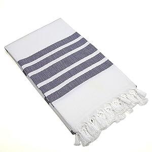 Linum Home Textiles Turkish Cotton Herringbone Pestemal, Peshtemal, Fota Beach Bath Towel