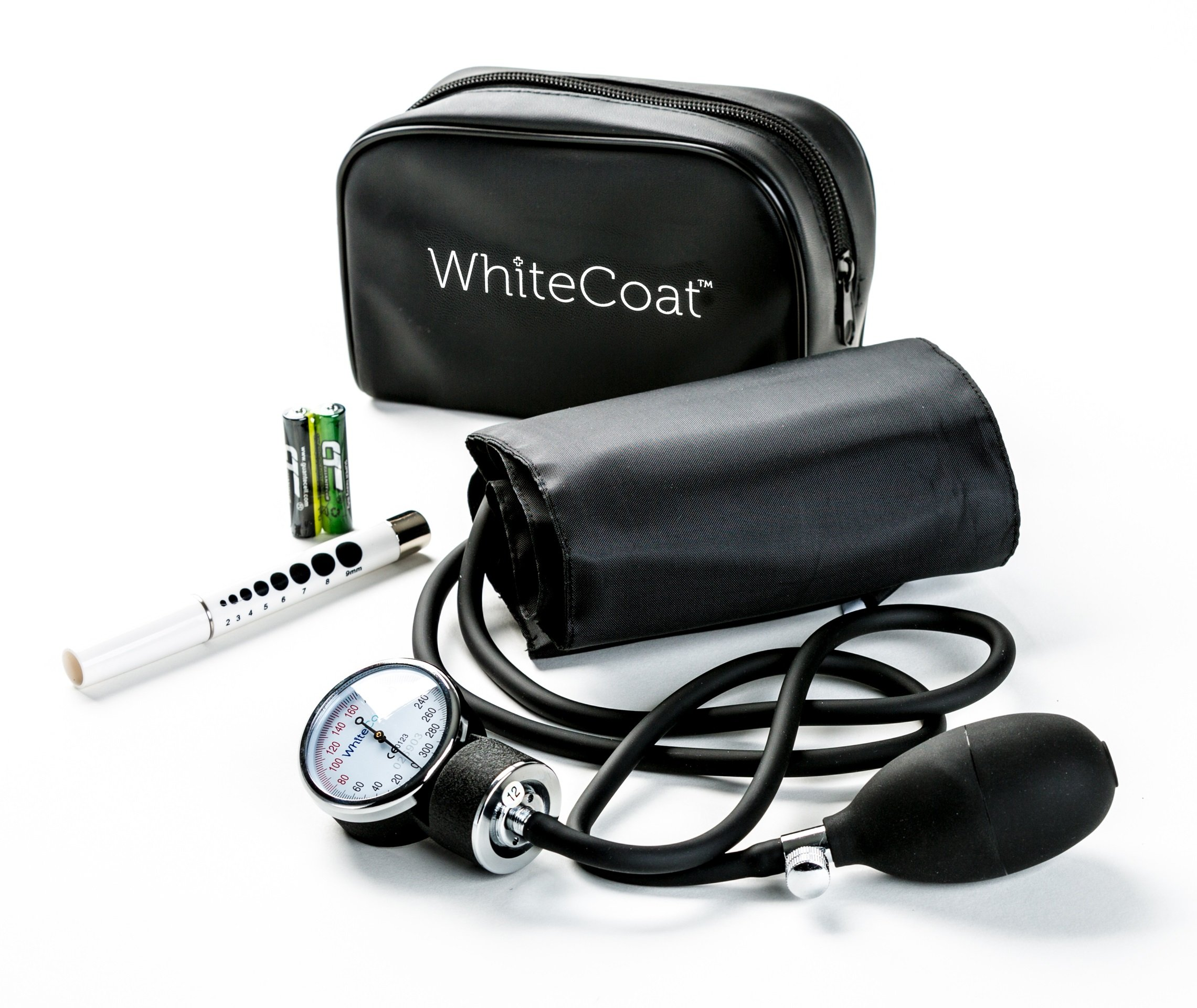 White Coat Deluxe Aneroid Sphygmomanometer Professional Blood Pressure Cuff Monitor with Adult Sized Black Cuff and Carrying Case Bonus LED Penlight with Pupil Gauge