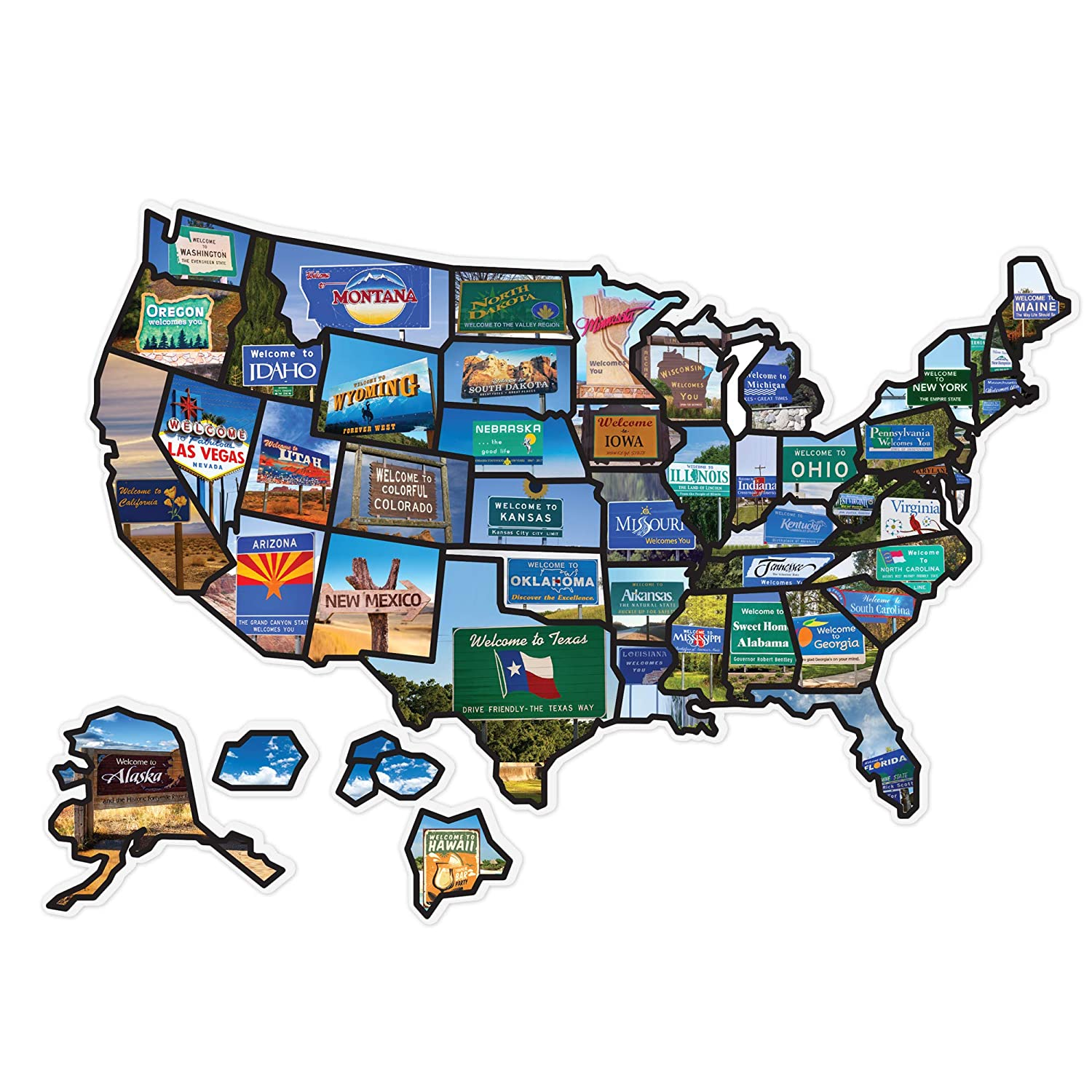"""Welcome Board Travel Map Decal Sticker 21"""" x 15"""" for Motor Home RV Trailer Vehicle 