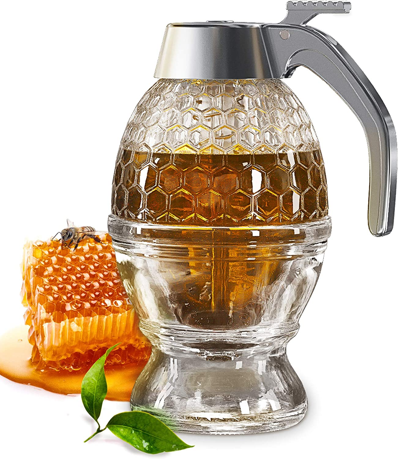 CLEVLI Honey Dispenser with Non-Slip Support and Flip Top Lid