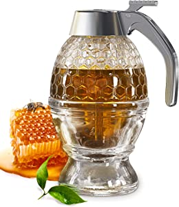 CLEVLI Bottom Flow Honey Dispenser No Drip Glass. 8oz for Easy Pouring of Syrup, Sugar, Sauces, Condiments. Handy Stopper in Bottom, Quick Fill