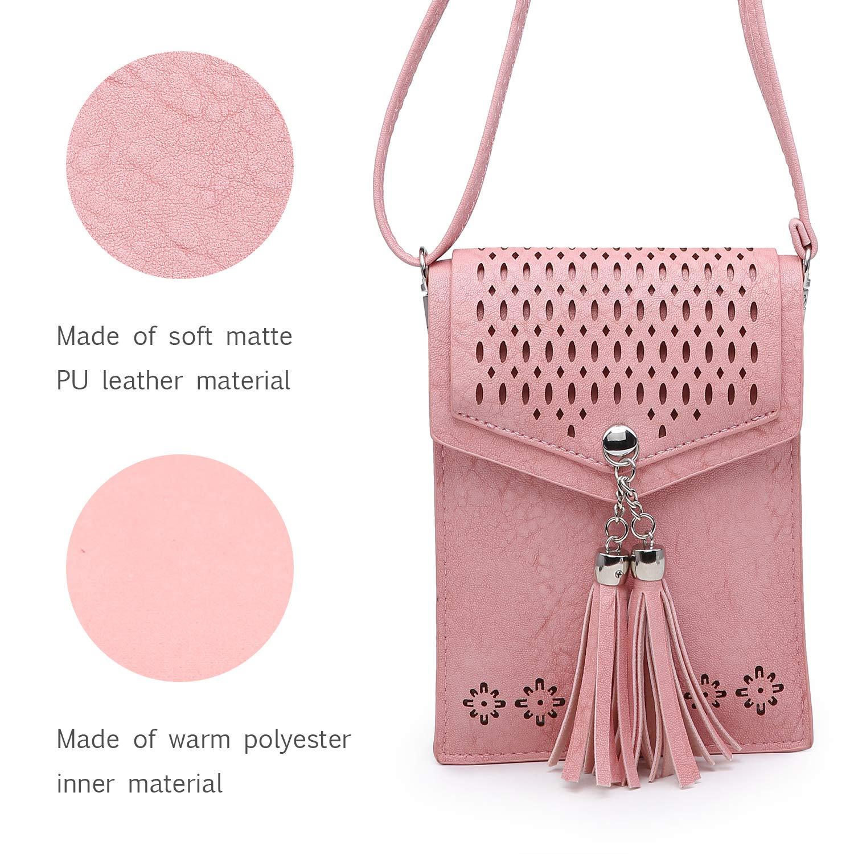 seOSTO Womens Small Crossbody Bag Tassel Cell Phone Purse Holder Wallet